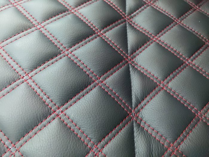 Quilted seat centre with red contrast stitching